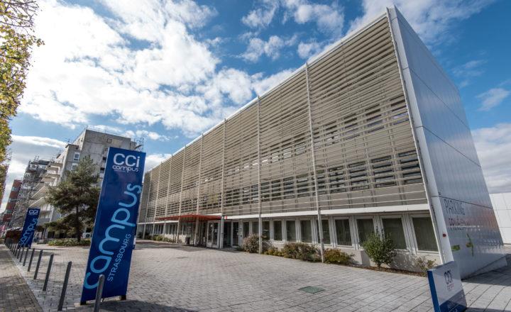 Façade de CCI Campus Strasbourg © Yves Trotzier