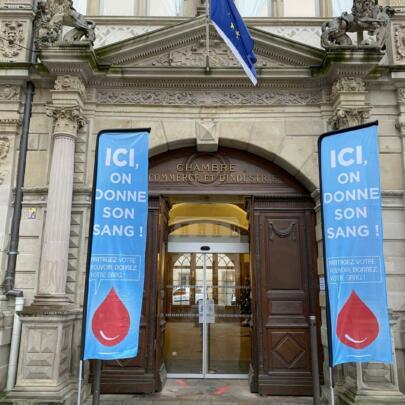Etablissement Français du Sang - Don de sang, 15 décembre 2020 / CCI Strasbourg, entrée principale @LGa